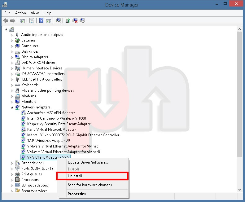 Uninstalling PingHint Virtual Network Adaptor